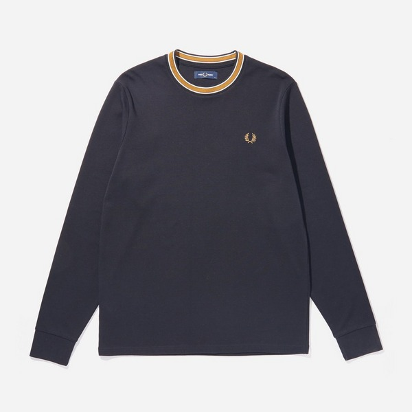 black-fred-perry-tramline-tipped-t-shirt