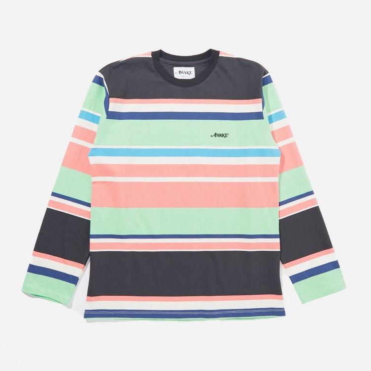 Awake NY Embroidered Logo Engineered Stripe Long Sleeve T-Shirt