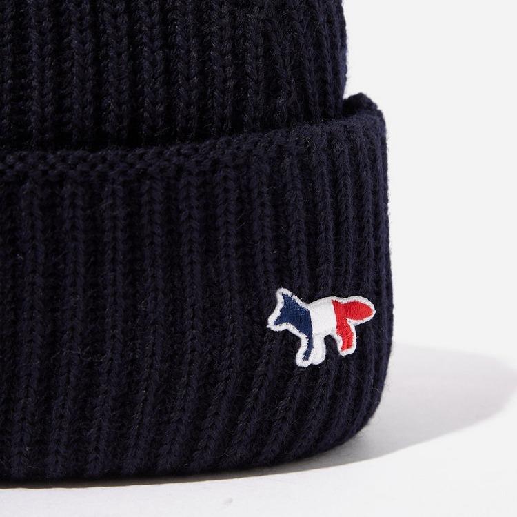 Maison Kitsune Ribbed Tricol Patch Hat