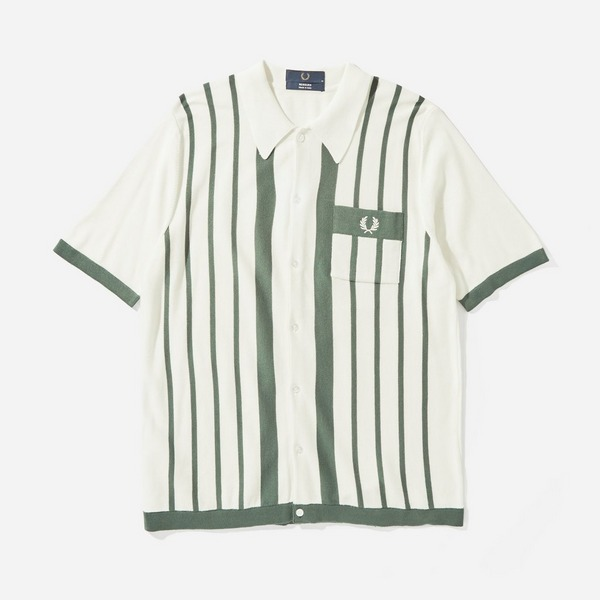 Fred Perry Striped Button Up Knitted Shirt