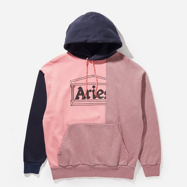 Aries Overdyed Colourblock Temple Hoodie
