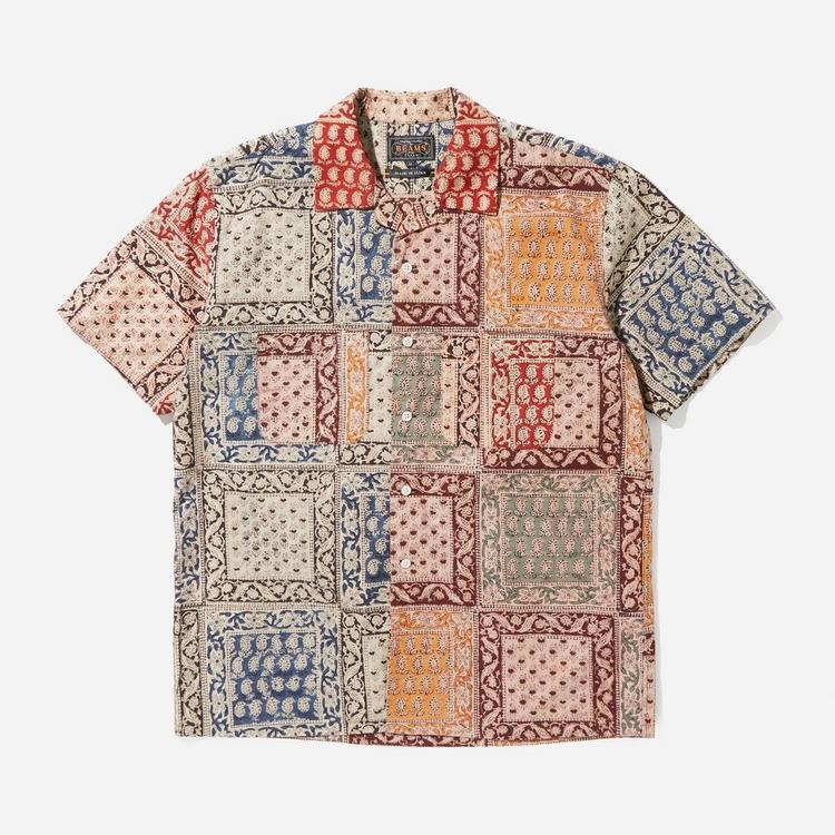 Beams Plus Open Collar Block Print Short Sleeve Shirt