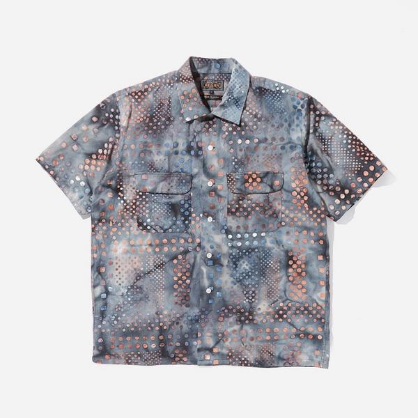 Beams Plus Open Collar Batik Print Short Sleeve Shirt