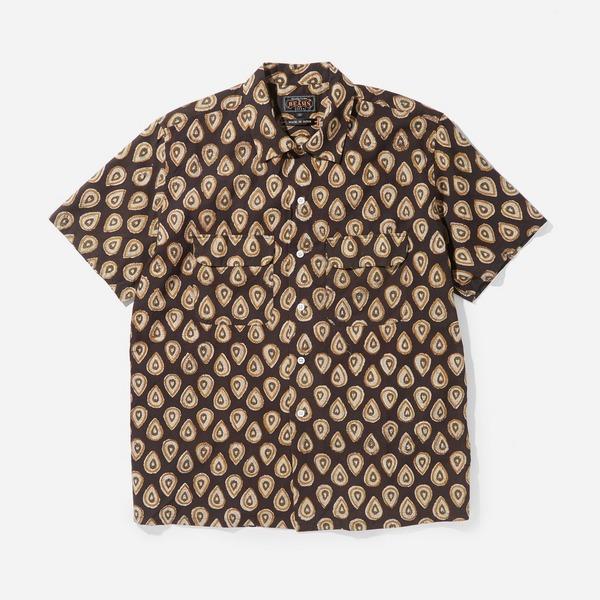 Beams Plus Open Collar Block Print 60/1 Short Sleeve Shirt
