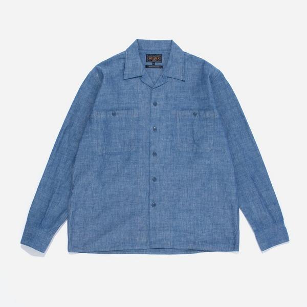 Beams Plus Open Collar Mil Chambray Long Sleeve Shirt