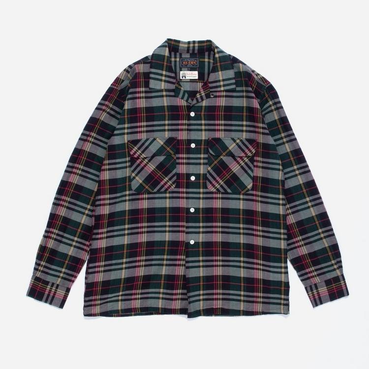 Beams Plus Open Collar Madras Long Sleeve Shirt