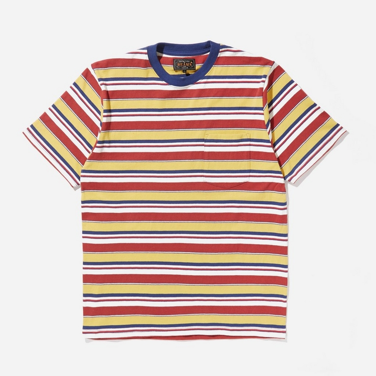 Beams Plus Multi Stripe Pocket T-Shirt