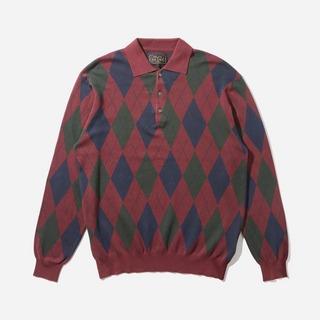 Beams Plus 14G Argyle Knit Long Sleeve Polo