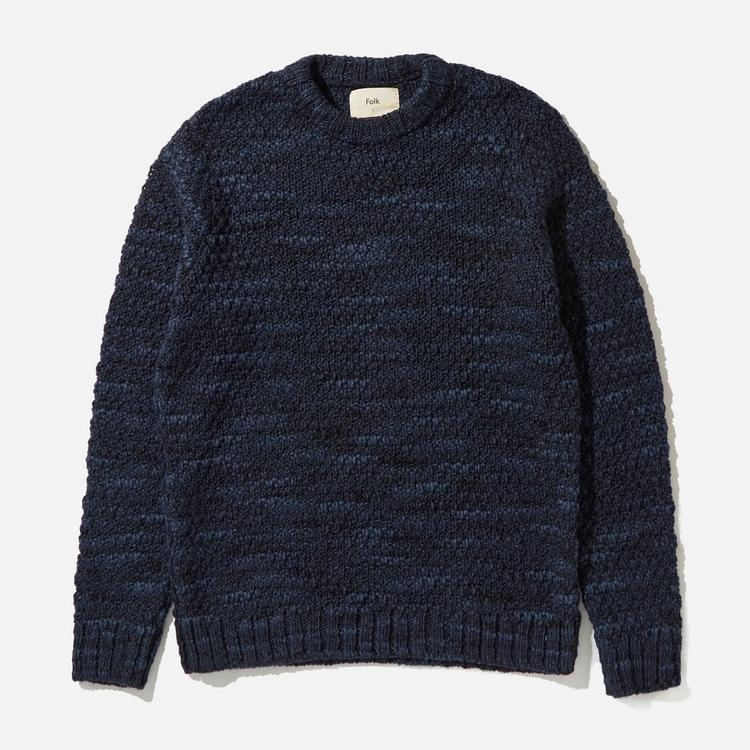 Folk Mixed Yarn Crewneck Sweater