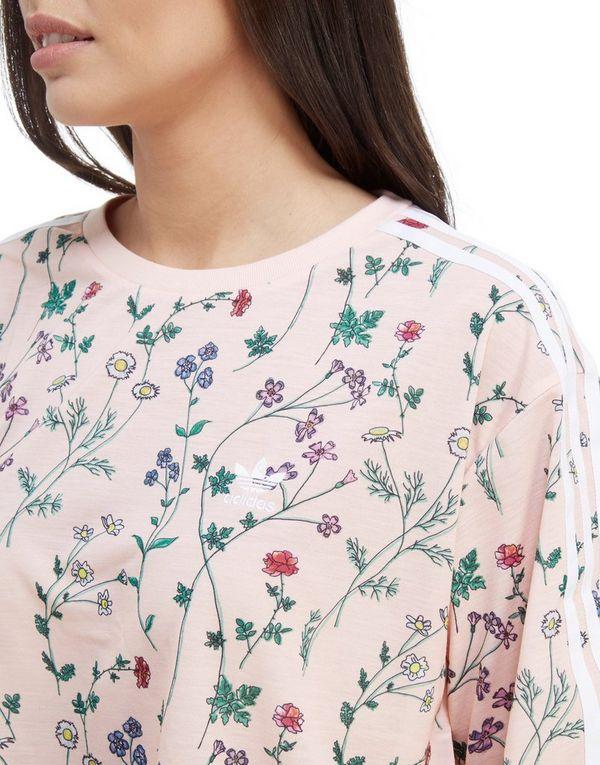 32e16691a87 adidas Originals All Over Print Floral Crop T-Shirt | JD Sports