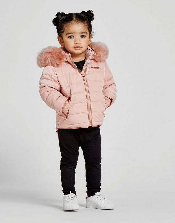 Sporting Girls V By Very Dusky Pink Lightweight Faux Fur Coat Jacket 12-18m Outerwear