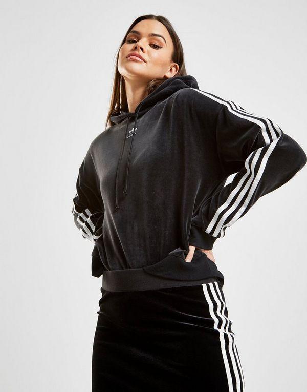 a3c179b1889a adidas Originals 3-Stripes Velvet Crop Overhead Hoodie