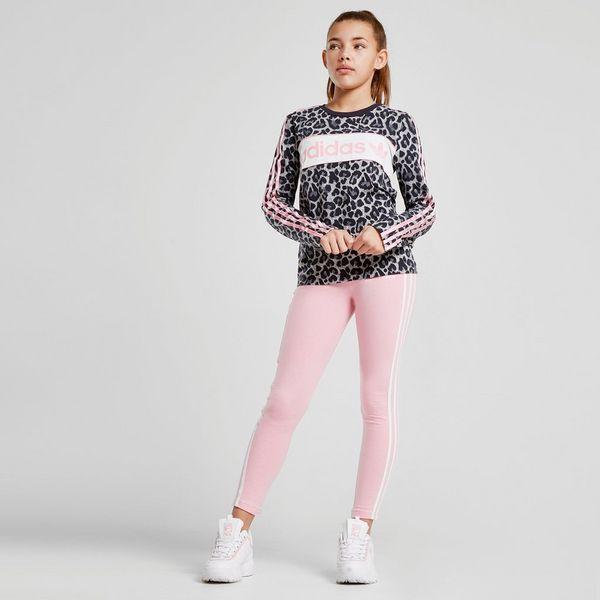 60349e216 adidas Originals Girls' Leopard Print Long Sleeve Crop T-Shirt Junior