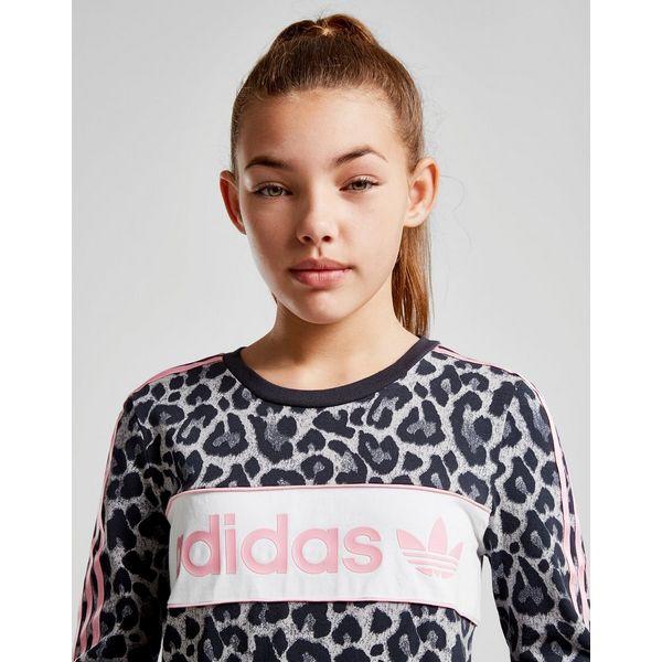 46ceb222f adidas Originals Girls' Leopard Print Long Sleeve Crop T-Shirt Junior
