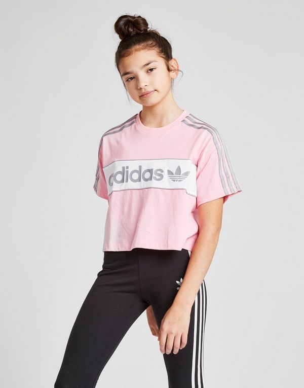 a92578450 adidas Originals Girls' Crop Linear T-Shirt Junior | JD Sports
