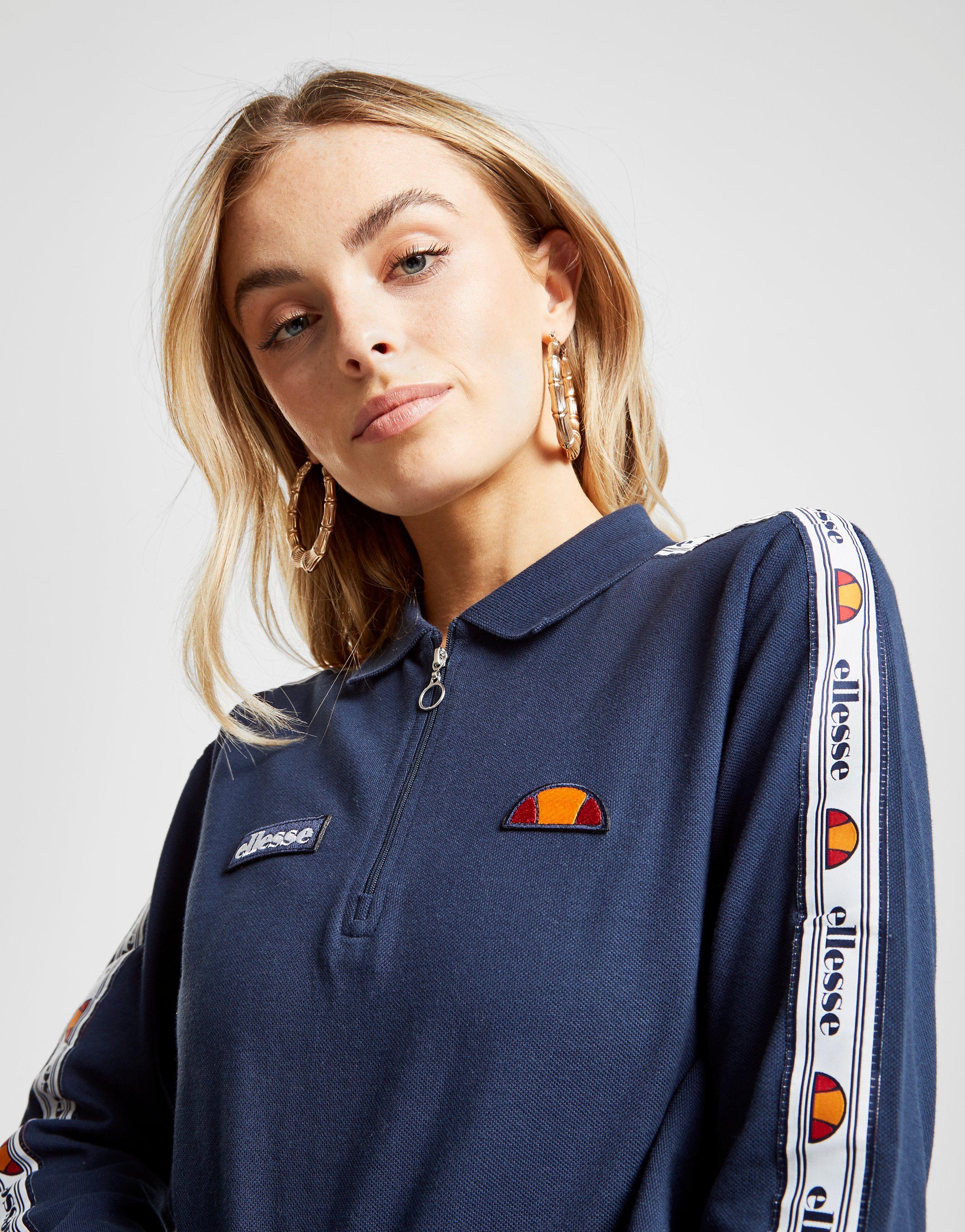 Ellesse Tape Long Sleeve Crop Polo Shirt