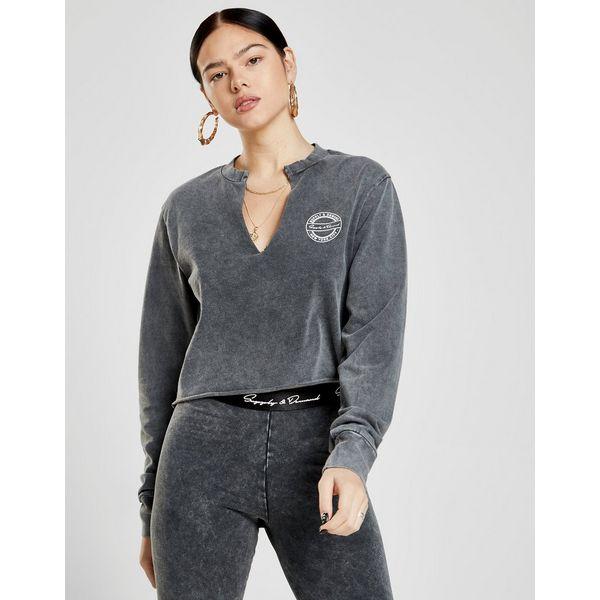 Supply & Demand Acid Wash Crop Crew Sweatshirt