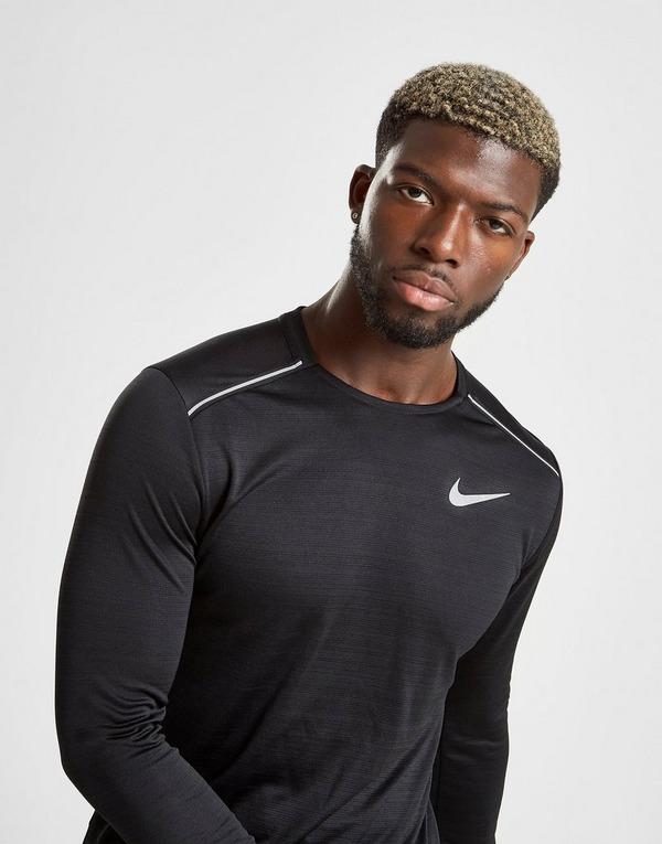 Køb Nike Dri FIT Miler Long Sleeve T Shirt Herre i Sort | JD