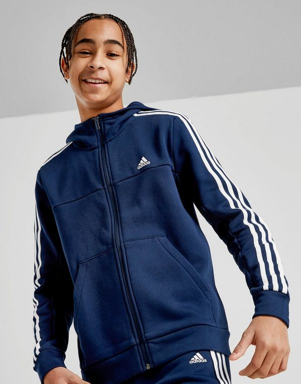 adidas Badge of Sport 3-Stripes Full Zip Hoodie Junior