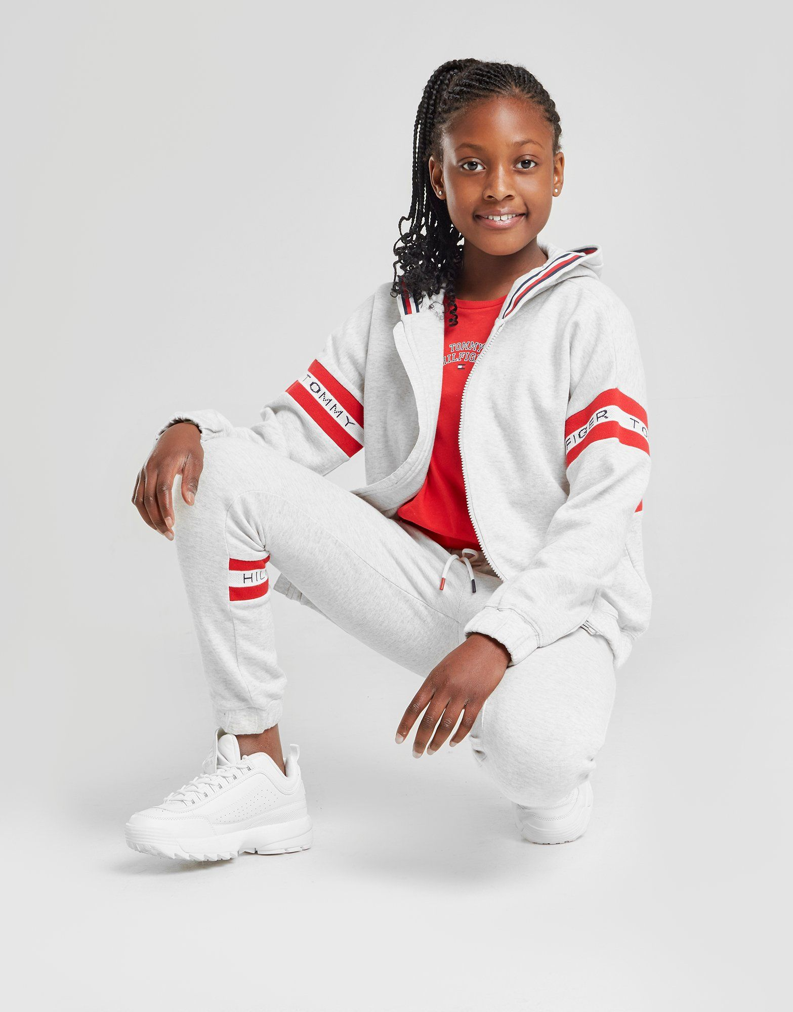 Tommy Hilfiger Girls' Logo Sleeve Full Zip Hoodie Junior by Tommy Hilfiger