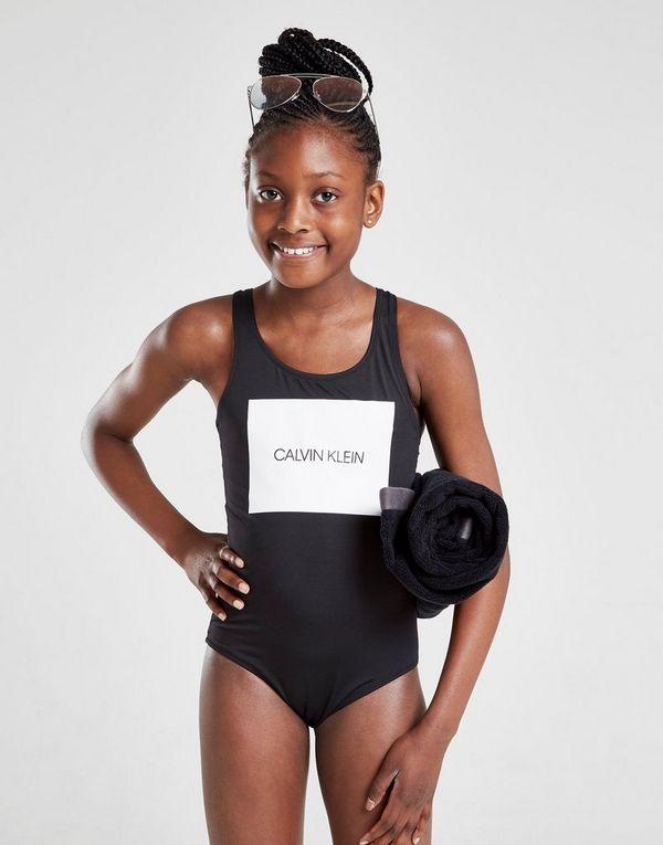04b22e85d6 Calvin Klein Girls' Box Logo Swimsuit Junior | JD Sports