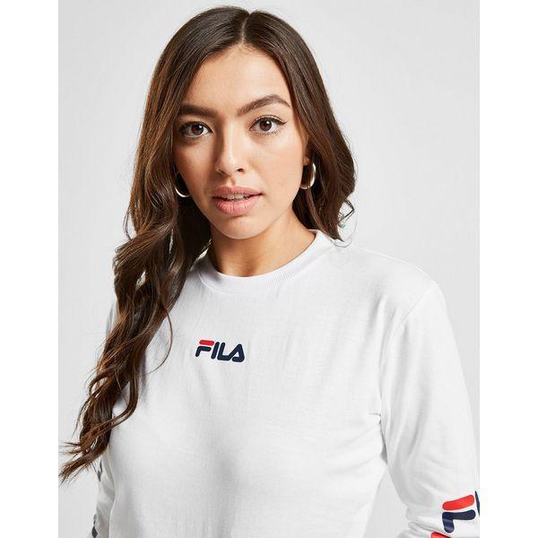 Fila Repeat Logo Long Sleeve Crop T-Shirt