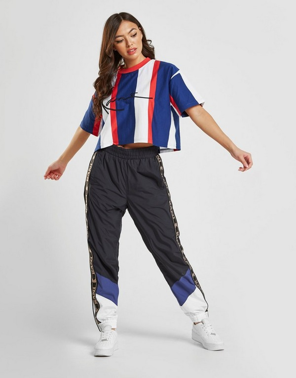 Køb Karl Kani Signature Stripe Crop T Shirt i Blå | JD Sports