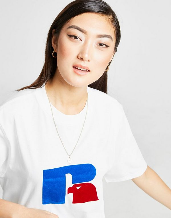 Russell Athletic Flock Logo Boyfriend T-Shirt