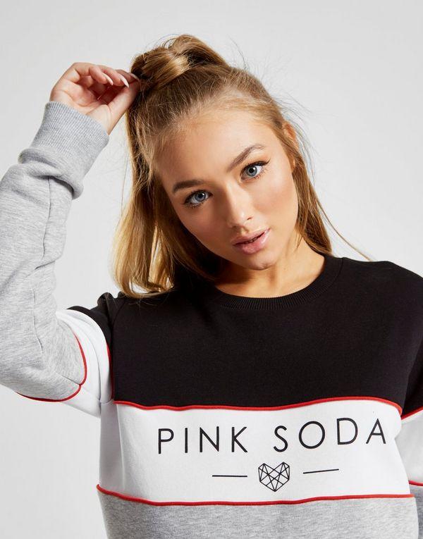 Pink Soda Sport Panel Colour Block Crew Sweatshirt