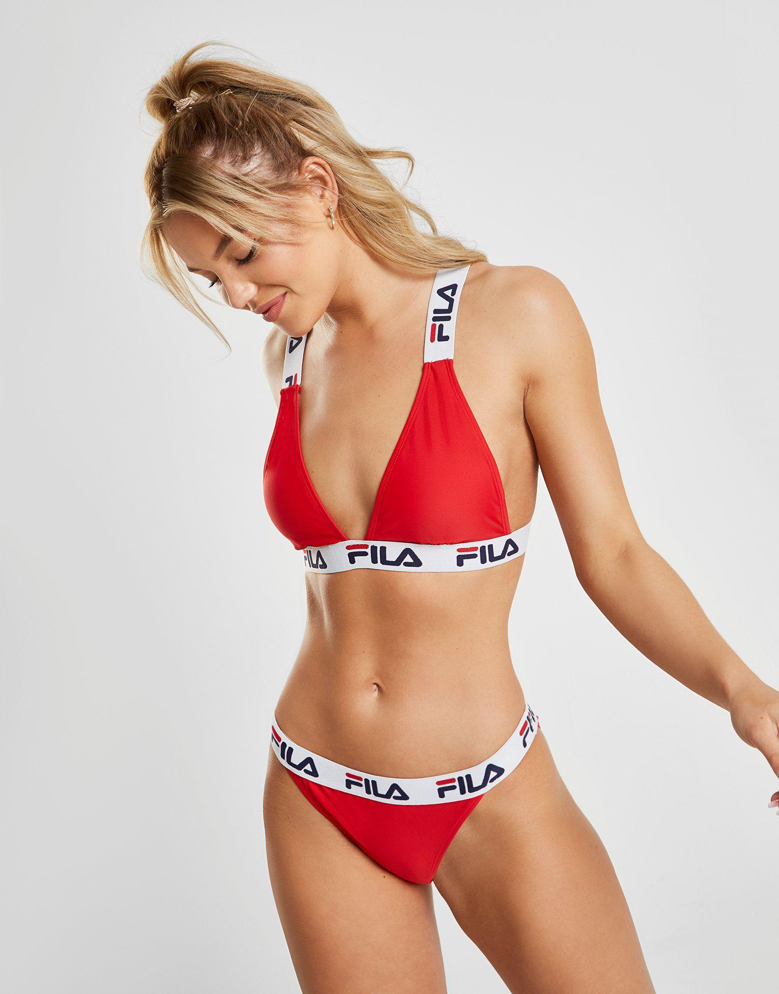 detailed look fa364 ec378 Fila Tape Logo Bikini Top | JD Sports