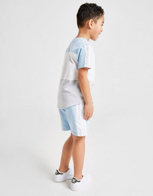 8353d401a adidas Originals Spirit Colour Block T-Shirt Shorts Set Children ...