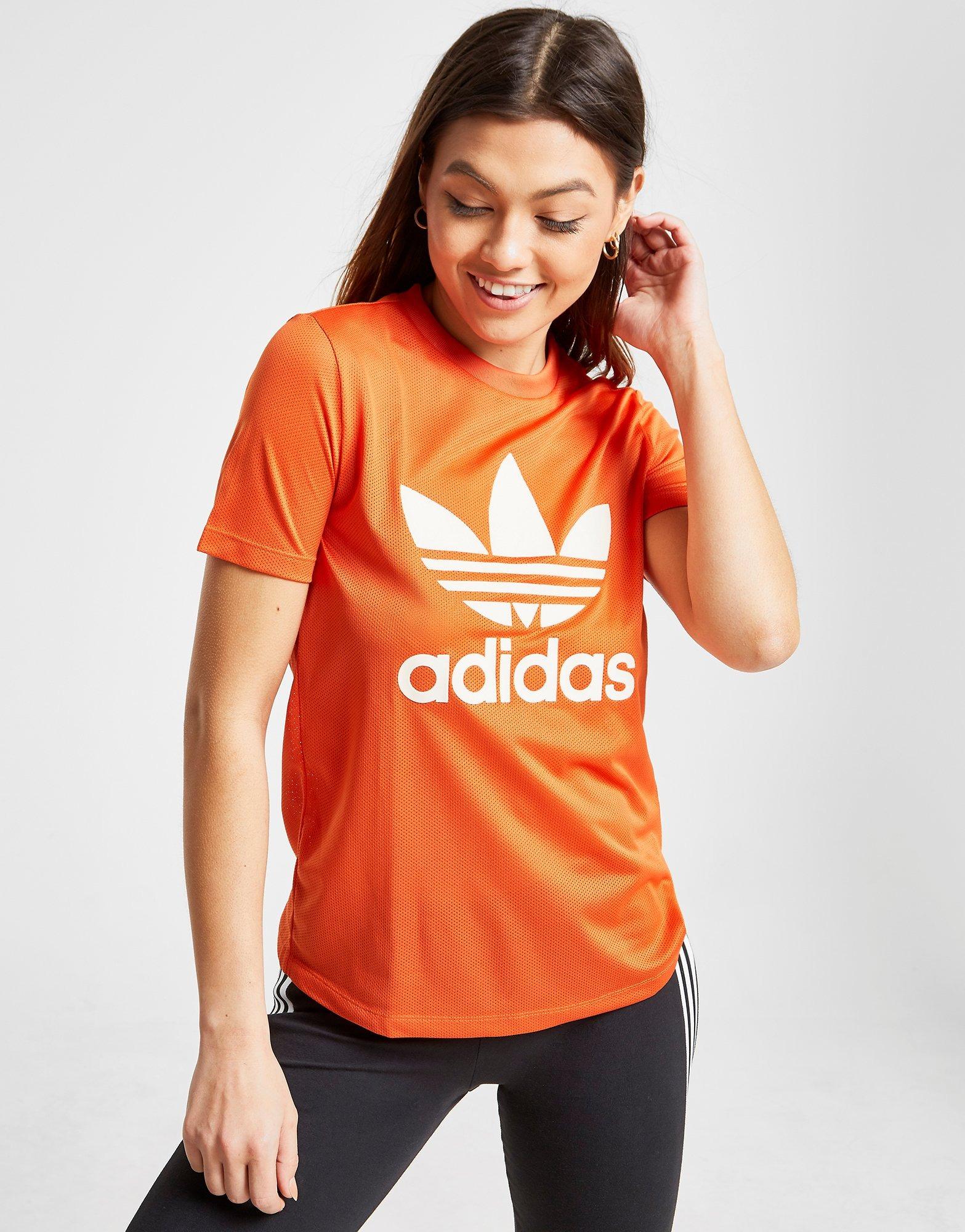 adidas Originals T shirt Trefoil Flock Femme   JD Sports