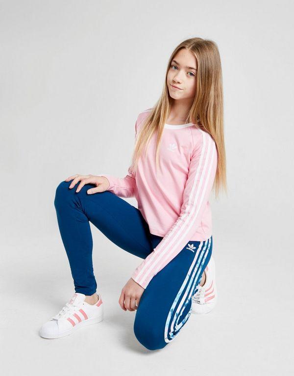 9f981df90 adidas Originals Girls' 3-Stripes Long Sleeve Crop T-Shirt Junior ...