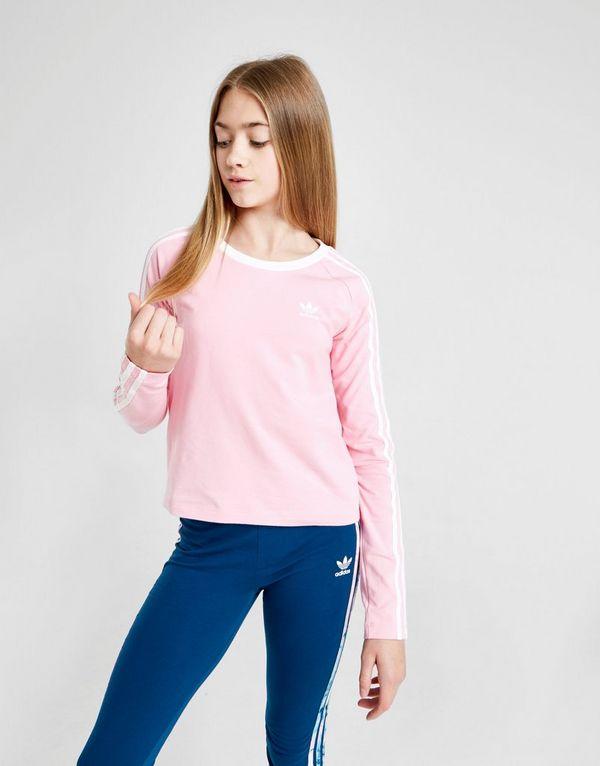 82d2d627b adidas Originals Girls' 3-Stripes Long Sleeve Crop T-Shirt Junior ...