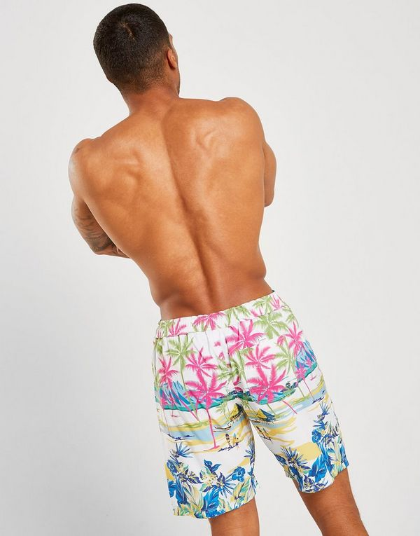 Guess Surf All Over Print Long Swim Shorts