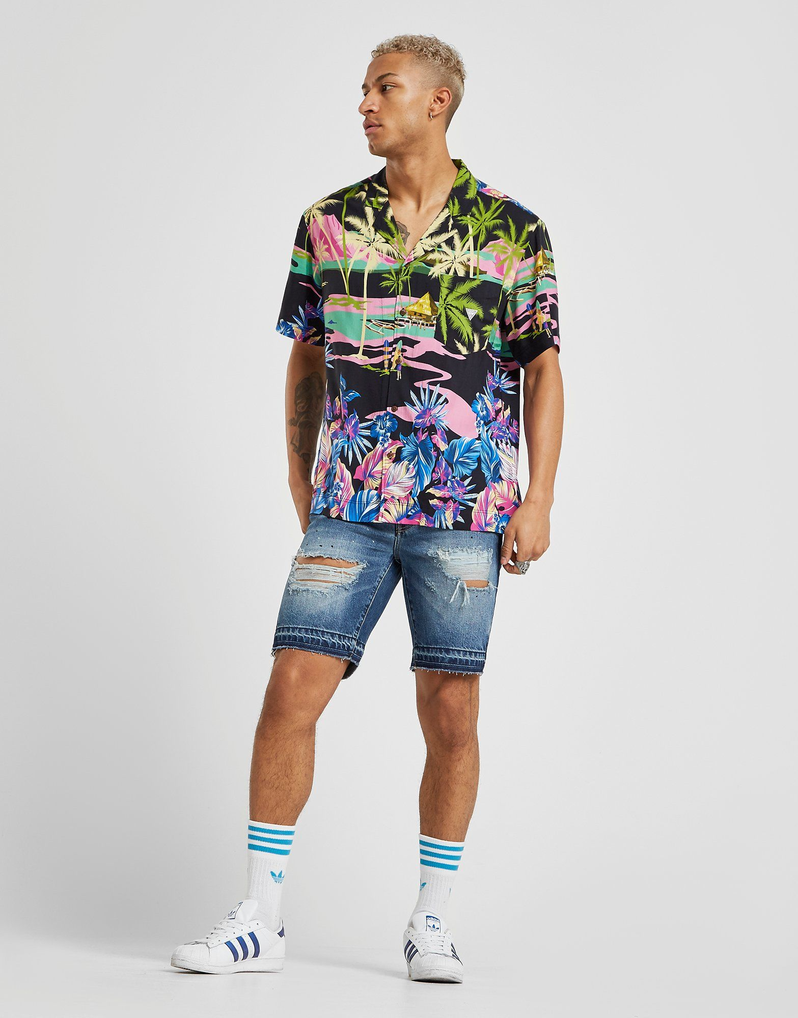 GUESS Surf All Over Print Short Sleeve Shirt
