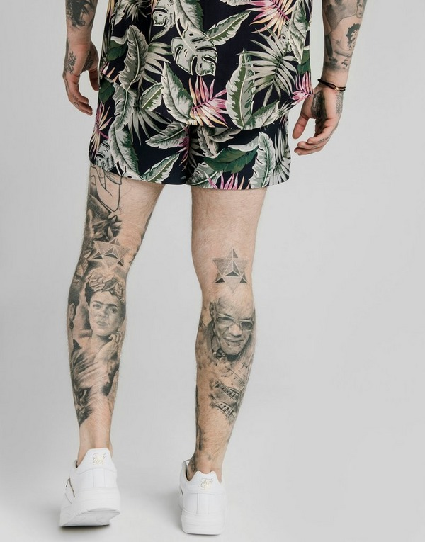 SikSilk Vine All Over Print Swim Shorts