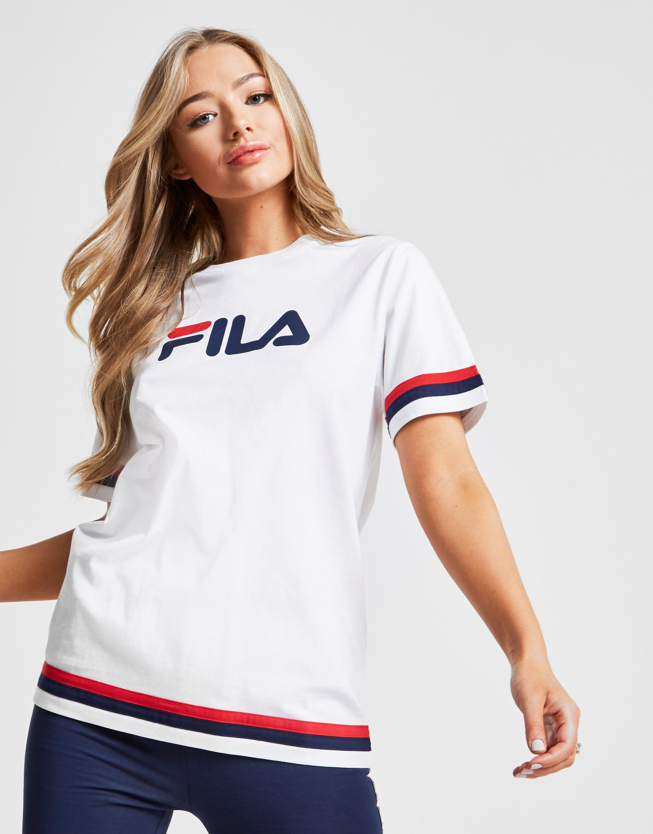 153c977752e Fila Stripe Boyfriend T-Shirt | JD Sports