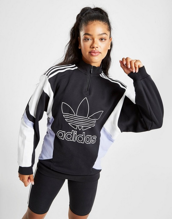 adidas Originals – Sweatshirt mit hohem Kragen und farblich