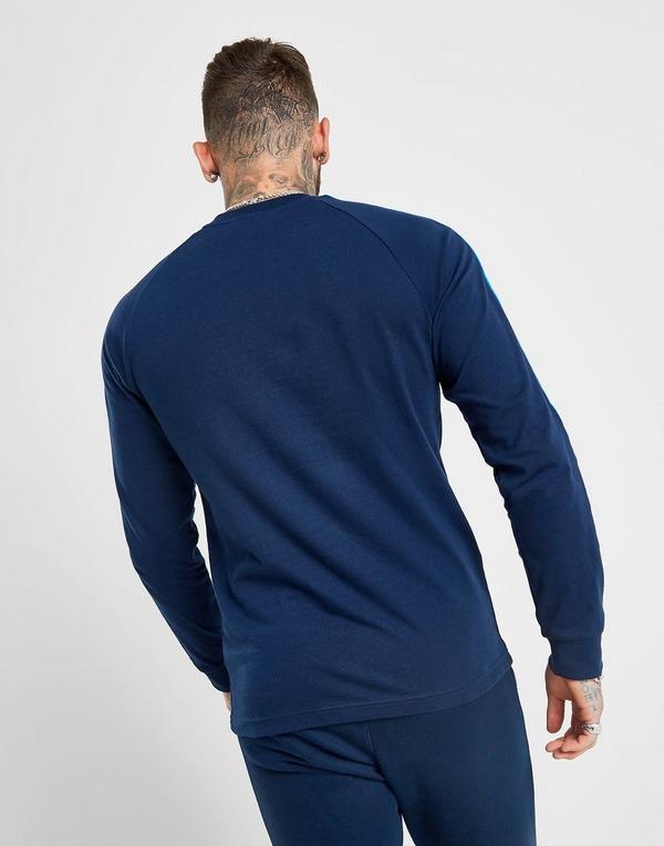 Nya Stilar adidas Herr 3 Stripes Långärmad T Shirt Blå