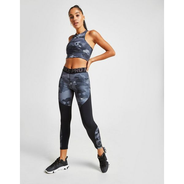 Nike Training All Over Camo Print Halterneck Sports Bra