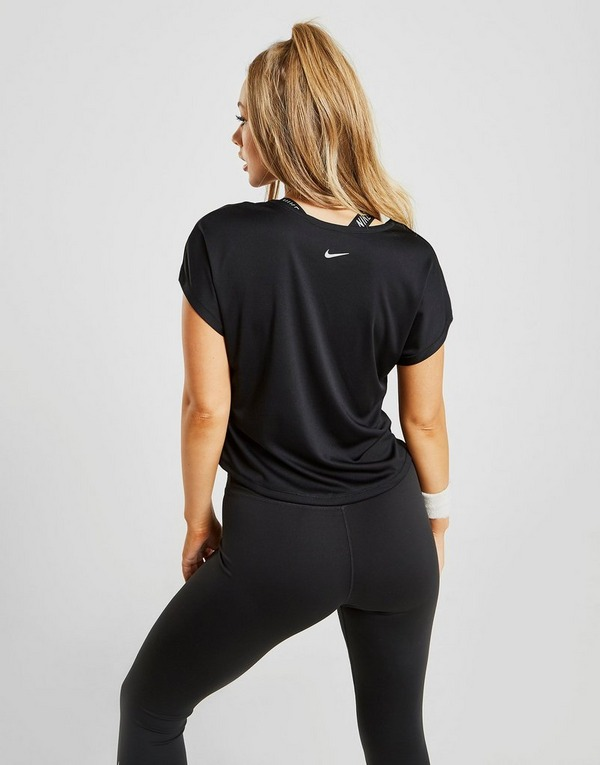 Koop Black Nike Running Miler Short Sleeve T-Shirt Dames