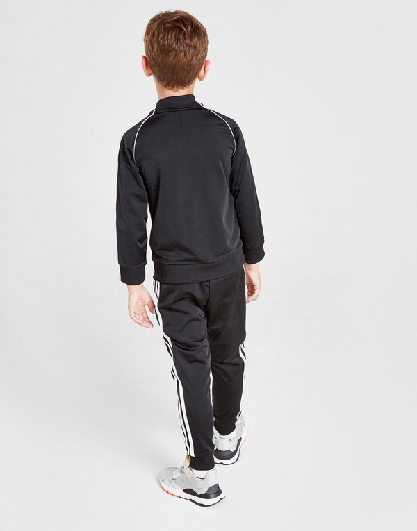adidas Boys Kids 3 Stripe Poly Hooded Jacket Joggers Tracksuit Sport Suit