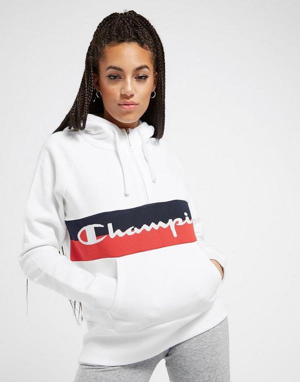 Champion Logo Stripe 1/4 Zip Hoodie