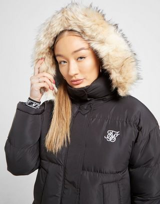 siksilk chaqueta fur hood padded mujer