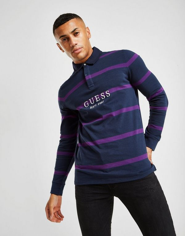GUESS Rugby Long Sleeve Stripe Polo Shirt