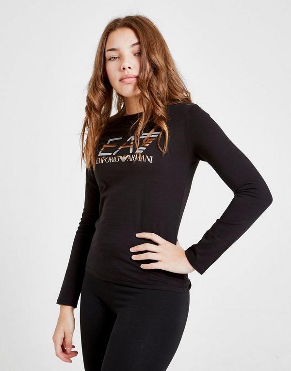 Emporio Armani EA7 Girls' Train Long Sleeve Shiny T-Shirt Junior