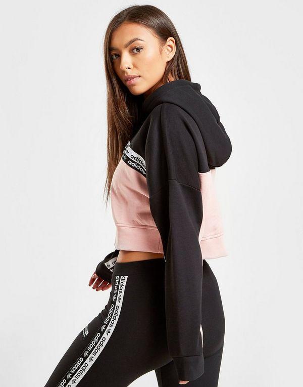 fotos nuevas que buen look colores delicados adidas Originals sudadera con capucha Colour Block Tape Crop ...
