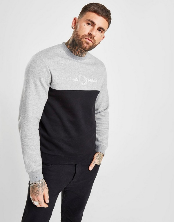 Fred Perry Block Embroidered Crew Sweatshirt