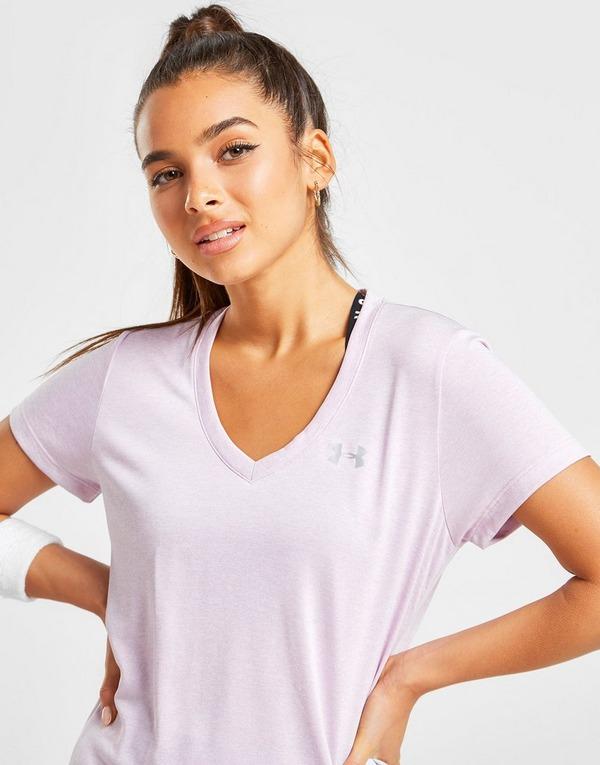 Køb Under Armour Twist Tech V Neck T Shirt Dame i Pink | JD